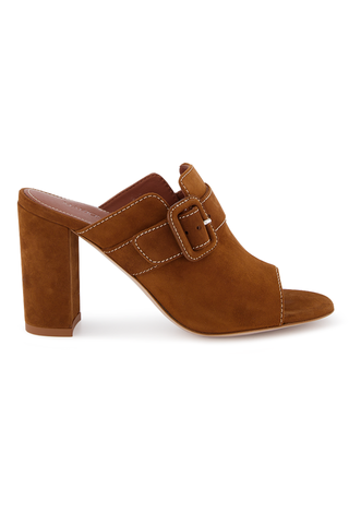 Side view image of Lidia Women's 85mm Suede Mule Camel