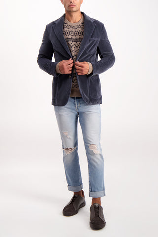 Full Body Image Of Model Wearing Massimo Alba Men's Benetti2 Cotton Single Breasted Blazer