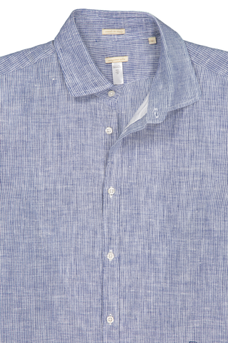 Front collar detail image of Massimo Alba Chambray Button Front Navy