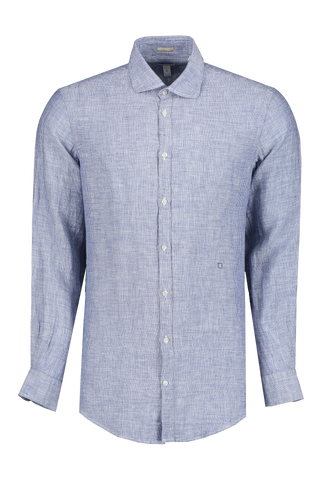 Front view image of Massimo Alba Chambray Button Front Navy
