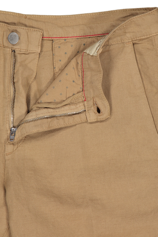 Waistline detail image of Massimo Alba Cotton Linen Short Khaki