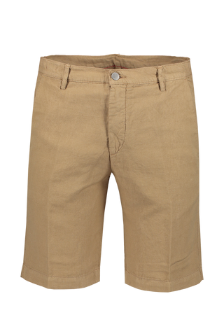 Front view image of Massimo Alba Cotton Linen Short Khaki