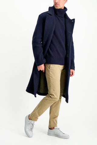 Full Body Image Of Model Wearing Massimo Alba Men's Frisco Double Breasted Overcoat