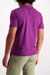 Back Crop Image Of Model Wearing Massimo Alba Garment Dye Crewneck Tee