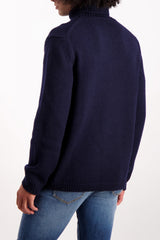 Back Crop Image Of Model Wearing Massimo Alba Kay Merino Wool Turtleneck