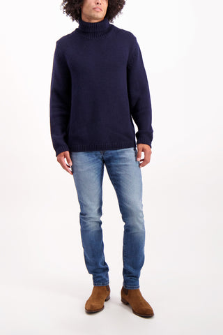 Full Body Image Of Model Wearing Massimo Alba Kay Merino Wool Turtleneck
