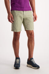 Front Crop Image Of Model Wearing Massimo Alba Linen Cotton Short Olive