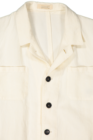 Front Collar Image of Massimo Alba Linen Jacket White