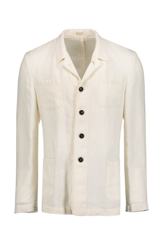 Front Image of Massimo Alba Linen Jacket White