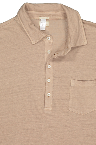 Front collar and button detail image of Massimo Alba Linen Short Sleeve Polo Khaki