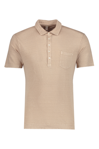 Front view image of Massimo Alba Linen Short Sleeve Polo Khaki