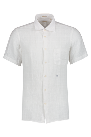 Front view image of Massimo Alba Linen Short Sleeve Shirt Bianco