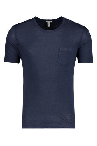 Front view image of Massimo Alba Linen Short Sleeve Tee Navy