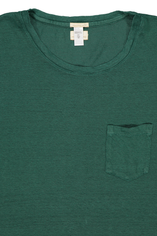Front collar detail image of Massimo Alba Linen Short Sleeve Tee Teal