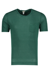 Front view image of Massimo Alba Linen Short Sleeve Tee Teal