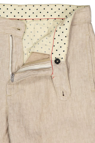 Waistline and zipper detail image of Massimo Alba Linen Trouser Tan