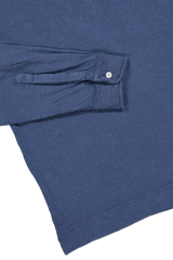 LONG SLEEVE LINEN PIQUE POLO LT BLUE