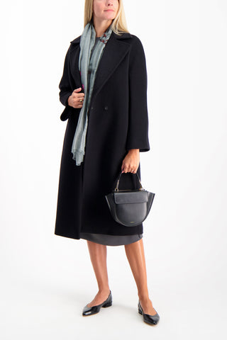 Full Body Image Of Model Wearing Max Mara Fata Coat Black