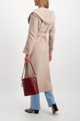 Back Crop Image Of Model Wearing Max Mara Flint Coat