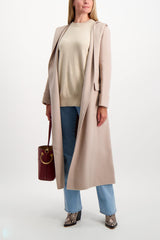 Full Body Image Of Model Wearing Max Mara Flint Coat