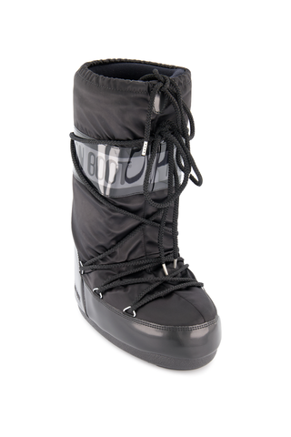 Front angled view image of Moon Boots Classic Fashion Moon Boot Glance Black