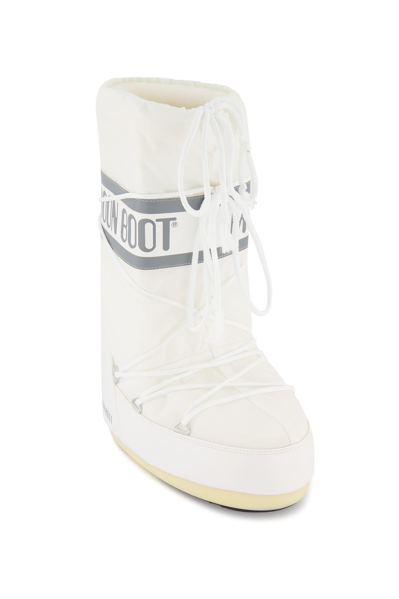 Lace Detail Image of Classic Moon Boots Nylon White