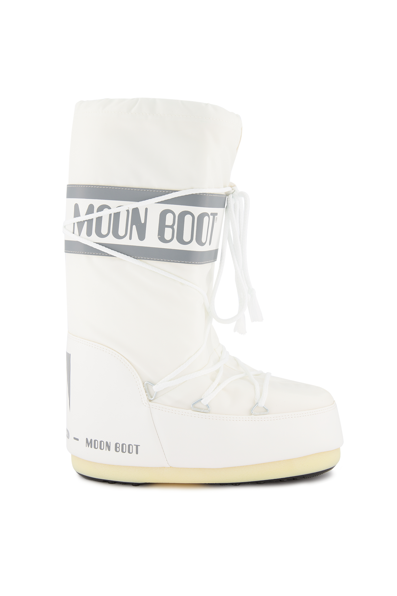 Front Image of Classic Moon Boots Nylon White