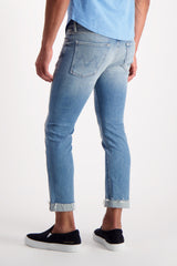 Back Crop Image Of Model Wearing Mother Denim The Neat Cuff Ankle Fray