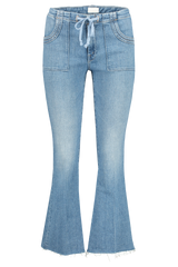Front view image of Mother Denim Women's Tie Patch Weekender Ankle Fray