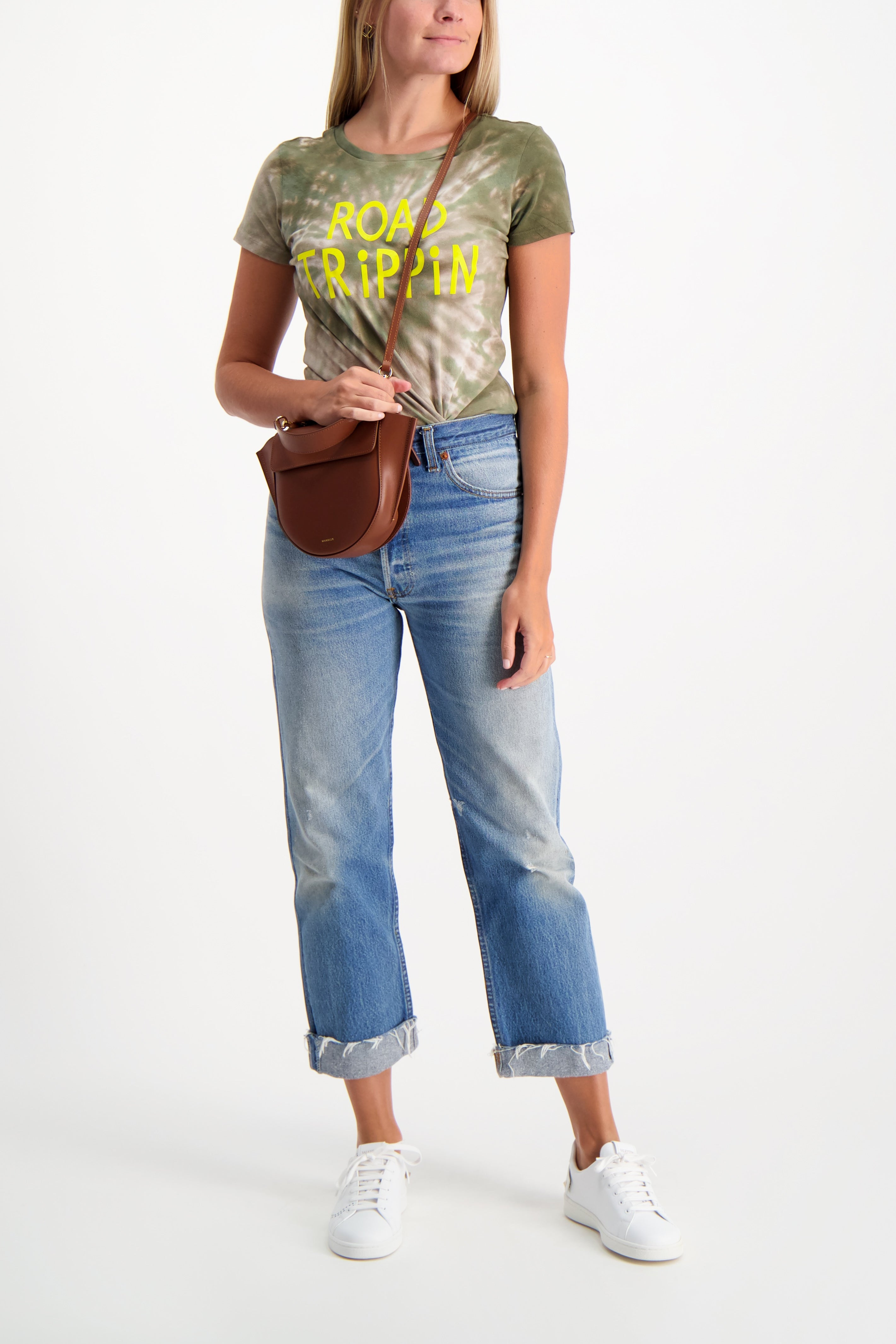 Full Body Image Of Model Wearing Image Of Mother Denim Itty Bitty Goodie Goodie Tee
