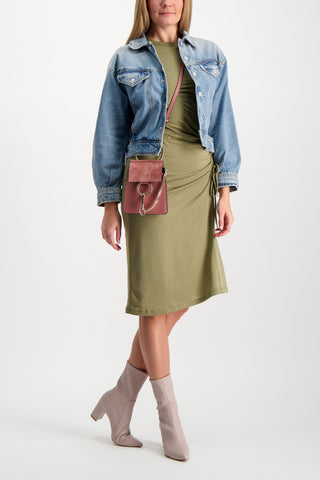 Full Body Image Of Model Wearing Mother Denim Women's The Flyaway Jacket