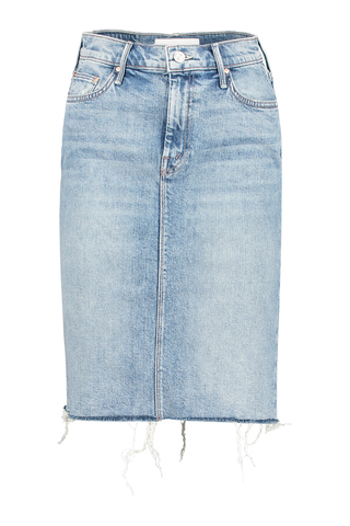 Front view image of Mother Denim Women's The HW Slice Knee Fray Skirt