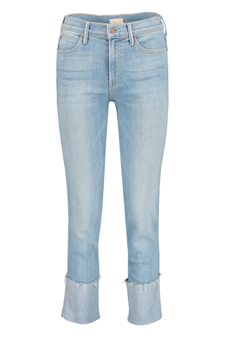 Front image of Mother Denim Women's The Pony Boy Ankle Fray Jeans