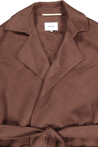 Front collar, lapel, and waist tie detail image of Nanushka Alamo Coat Espresso
