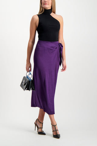 Full Body Image Of Model Wearing Nanushka Amas Washed Satin Skirt