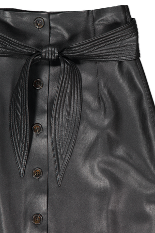 Waistline and tie detail image of Nanushka Afren Vegan Leather Skirt