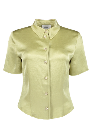 Clare Button Down Blouse Lime