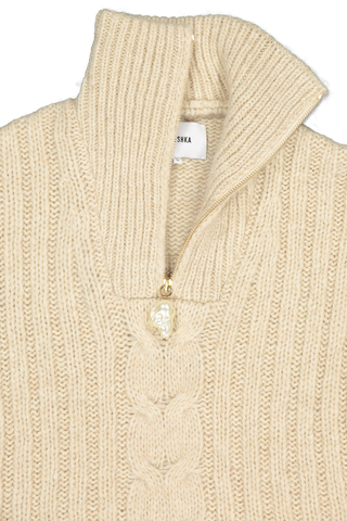 Front collar detail image of Nanushka Eria Quarter Zip Sweater