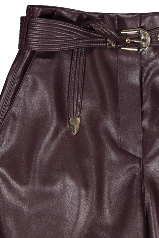 Waistline detail image of Nanushka Women's Vegan Leather Pant Aubergine