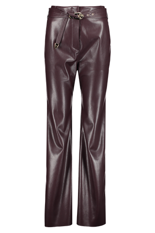 Front view image of Nanushka Women's Vegan Leather Pant Aubergine