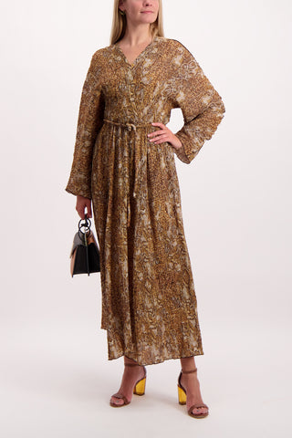 Full Body Image Of Model Wearing Nanushka Long Sleeve Chul Dress