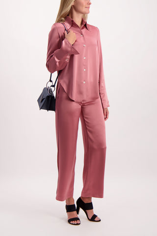 Full Body Image Of Model Wearing Nanushka Marfa Pant Rose