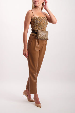 Full Body Image Of Model Wearing Nanushka Mitsu Trouser Brown