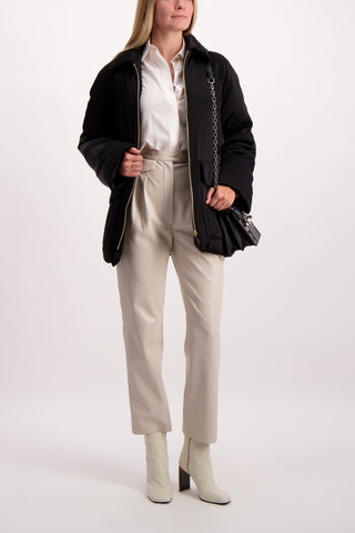 Full Body Image Of Model Wearing Nanushka Mitsu Trouser Creme