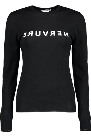Front Image Of Nervure Sweater Nero In Bianco