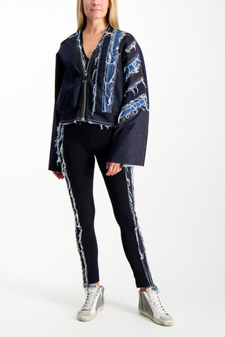 Full Body Image Of Model Wearing NO KA'OI Patchwork Cropped Jacket