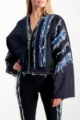 Front Crop Image Of Model Wearing NO KA'OI Patchwork Cropped Jacket