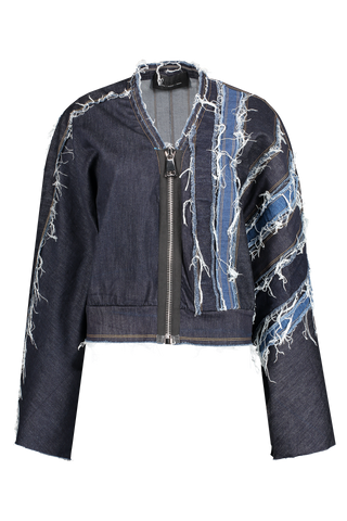 Front image of NO KA'OI Patchwork Cropped Jacket