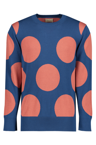 Front Image Of Nudie Hampus Dots Crewneck Blue