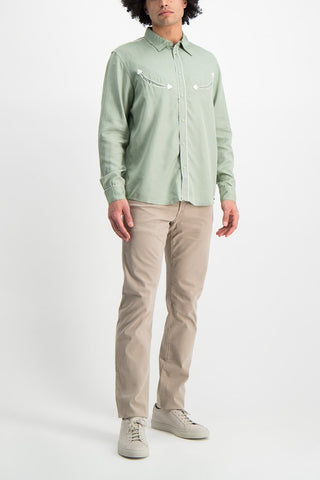 Full Body Image Of Model Wearing Image Of Nudie Jeans Stellan Western Shirt Pale Green